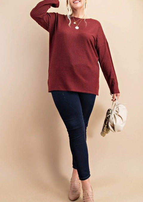 Ribbed, Dolman Long Sleeve Top