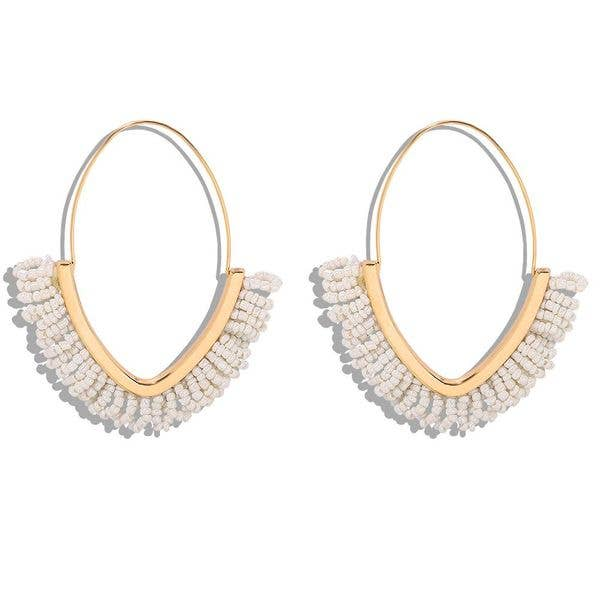 White and Gold Boho Beaded Hoop Earrings