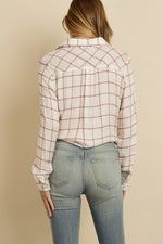 Checkered button-down shirt with a knot detail at the front