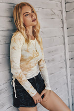 Womens Pleated Tie-Die Tshirt
