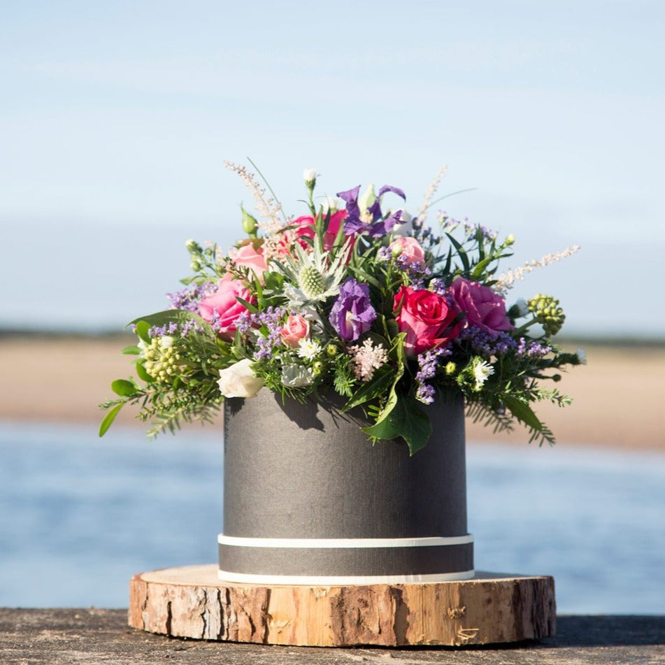 Hat Box Floral Arrangement by The Daisy Chain