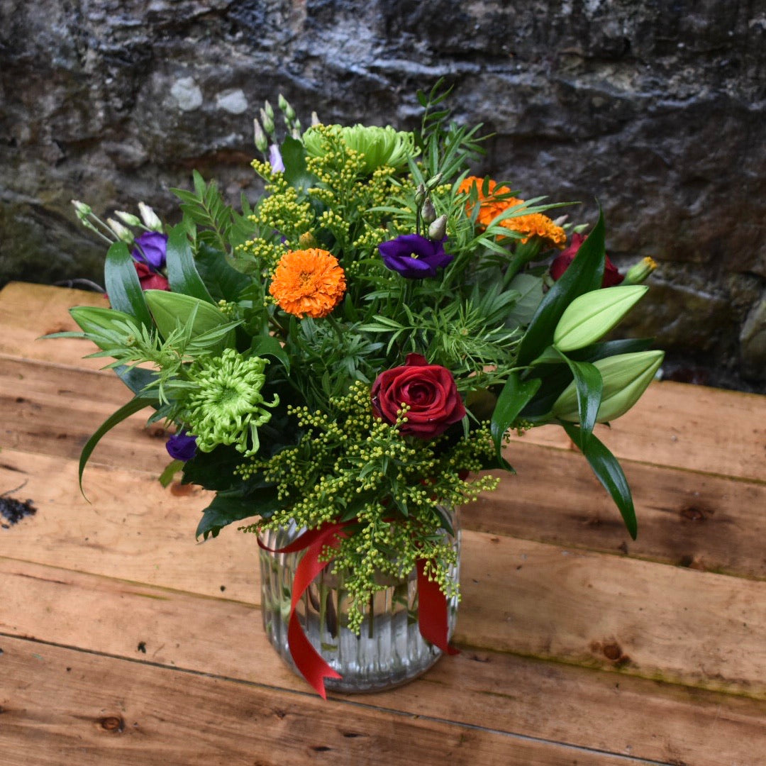 Seasonal floral vase arrangement