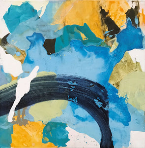 "Abstract artwork ""Bent"" - affordably chic art in small size, yellow and blue/grey with dynamic shapes and movements. Abstract expressionism aesthetic in a non-representational artwork. Modern acrylic painting on canvas by abstract artist Anja Stemmer"