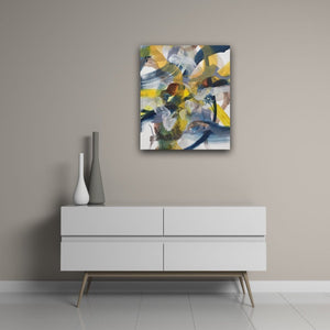 Abstract expressionist art above a modern side board in white - modern artwork. A modern acrylic painting by abstract artist Anja Stemmer. Visit my Picture Shop for affordable art online: Buy abstract paintings, modern acrylic paintings and works of abstract art on canvas or paper online. My high quality abstract art designs are hand painted.