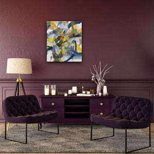 Abstract expressionist art on a colored wall in dark red and violet interior design style- modern artwork. A modern acrylic painting by abstract artist Anja Stemmer. Visit my Picture Shop for affordable art online: Buy abstract paintings, modern acrylic paintings and works of abstract art on canvas or paper online. My high quality abstract art designs are hand painted.