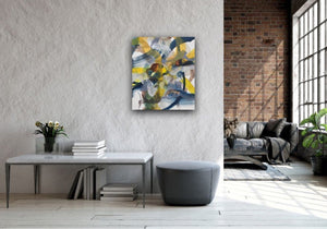 Abstract expressionist art in a loft style modern interior with brick walls and grey sofa - modern artwork. A modern acrylic painting by abstract artist Anja Stemmer. Visit my Picture Shop for affordable art online: Buy abstract paintings, modern acrylic paintings and works of abstract art on canvas or paper online. My high quality abstract art designs are hand painted.