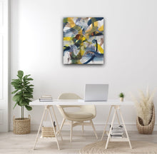Load image into Gallery viewer, Abstract expressionist art at a lady's home office desk in light colors- modern artwork. A modern acrylic painting by abstract artist Anja Stemmer. Visit my Picture Shop for affordable art online: Buy abstract paintings, modern acrylic paintings and works of abstract art on canvas or paper online. My high quality abstract art designs are hand painted.