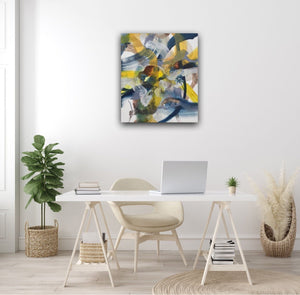 Abstract expressionist art at a lady's home office desk in light colors- modern artwork. A modern acrylic painting by abstract artist Anja Stemmer. Visit my Picture Shop for affordable art online: Buy abstract paintings, modern acrylic paintings and works of abstract art on canvas or paper online. My high quality abstract art designs are hand painted.