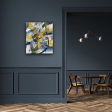 Load image into Gallery viewer, Abstract expressionist art on a dark blue colored wall - modern artwork. A modern acrylic painting by abstract artist Anja Stemmer. Visit my Picture Shop for affordable art online: Buy abstract paintings, modern acrylic paintings and works of abstract art on canvas or paper online. My high quality abstract art designs are hand painted.