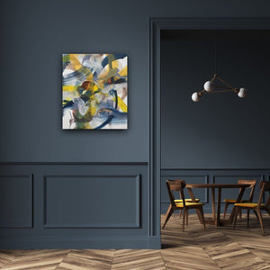 Abstract expressionist art on a dark blue colored wall - modern artwork. A modern acrylic painting by abstract artist Anja Stemmer. Visit my Picture Shop for affordable art online: Buy abstract paintings, modern acrylic paintings and works of abstract art on canvas or paper online. My high quality abstract art designs are hand painted.