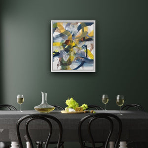 Abstract expressionist art on a dark green colored wall above a dining table- modern artwork. A modern acrylic painting by abstract artist Anja Stemmer. Visit my Picture Shop for affordable art online: Buy abstract paintings, modern acrylic paintings and works of abstract art on canvas or paper online. My high quality abstract art designs are hand painted.