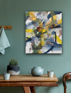Abstract expressionist art on a teal or turqoise colored wall over a dining table with teapot- modern artwork. A modern acrylic painting by abstract artist Anja Stemmer. Visit my Picture Shop for affordable art online: Buy abstract paintings, modern acrylic paintings and works of abstract art on canvas or paper online. My high quality abstract art designs are hand painted.