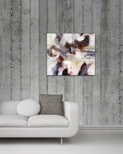 "Load image into Gallery viewer, Abstract expressionist art on concrete walls and over a contemporary couch - modern artwork ""Loft III"". A modern acrylic painting by abstract artist Anja Stemmer. Visit my Picture Shop for affordable art online: Buy abstract paintings, modern acrylic paintings and works of abstract art on canvas or paper online. My high quality abstract art designs are hand painted."