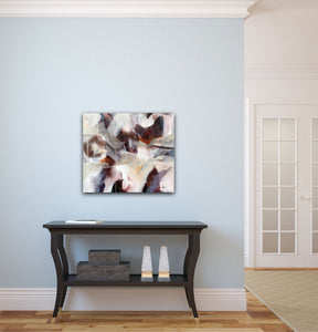 "Abstract expressionist art on a light blue colored wall in a traditional interior over a black sideboard- modern artwork ""Loft III"". A modern acrylic painting by abstract artist Anja Stemmer. Visit my Picture Shop for affordable art online: Buy abstract paintings, modern acrylic paintings and works of abstract art on canvas or paper online. My high quality abstract art designs are hand painted."