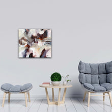 "Load image into Gallery viewer, Abstract expressionist art in modern living room with contemporary chairs - modern artwork ""Loft III"". A modern acrylic painting by abstract artist Anja Stemmer. Visit my Picture Shop for affordable art online: Buy abstract paintings, modern acrylic paintings and works of abstract art on canvas or paper online. My high quality abstract art designs are hand painted."