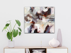 "Abstract expressionist art over a white sideboard with a plant - modern artwork ""Loft III"". A modern acrylic painting by abstract artist Anja Stemmer. Visit my Picture Shop for affordable art online: Buy abstract paintings, modern acrylic paintings and works of abstract art on canvas or paper online. My high quality abstract art designs are hand painted."
