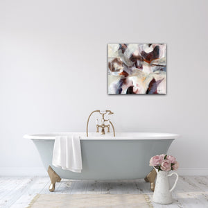 "Abstract expressionist art in the bathroom with roses- modern artwork ""Loft III"". A modern acrylic painting by abstract artist Anja Stemmer. Visit my Picture Shop for affordable art online: Buy abstract paintings, modern acrylic paintings and works of abstract art on canvas or paper online. My high quality abstract art designs are hand painted."