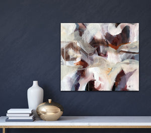 "Abstract expressionist art on a dark blue colored wall with home decor accessories- modern artwork ""Loft III"". A modern acrylic painting by abstract artist Anja Stemmer. Visit my Picture Shop for affordable art online: Buy abstract paintings, modern acrylic paintings and works of abstract art on canvas or paper online. My high quality abstract art designs are hand painted."
