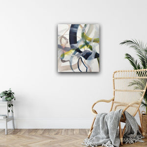 Abstract expressionist art in a relaxation corner and cozy living room- modern artwork. A modern acrylic painting by abstract artist Anja Stemmer. Visit my Picture Shop for affordable art online: Buy abstract paintings, modern acrylic paintings and works of abstract art on canvas or paper online. My high quality abstract art designs are hand painted.