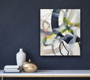 Abstract expressionist art on a colored wall in dark blue - modern artwork. A modern acrylic painting by abstract artist Anja Stemmer. Visit my Picture Shop for affordable art online: Buy abstract paintings, modern acrylic paintings and works of abstract art on canvas or paper online. My high quality abstract art designs are hand painted.