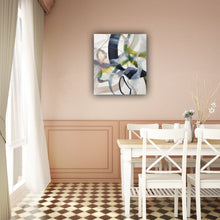 Load image into Gallery viewer, Abstract expressionist art in the dining room and on a colored wall (apricot color)- modern artwork. A modern acrylic painting by abstract artist Anja Stemmer. Visit my Picture Shop for affordable art online: Buy abstract paintings, modern acrylic paintings and works of abstract art on canvas or paper online. My high quality abstract art designs are hand painted.