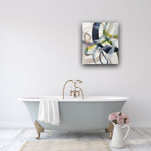 Load image into Gallery viewer, Abstract expressionist art in the bathroom above a bathtub.- modern artwork. A modern acrylic painting by abstract artist Anja Stemmer. Visit my Picture Shop for affordable art online: Buy abstract paintings, modern acrylic paintings and works of abstract art on canvas or paper online. My high quality abstract art designs are hand painted.