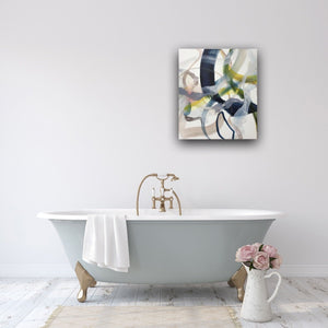 Abstract expressionist art in the bathroom above a bathtub.- modern artwork. A modern acrylic painting by abstract artist Anja Stemmer. Visit my Picture Shop for affordable art online: Buy abstract paintings, modern acrylic paintings and works of abstract art on canvas or paper online. My high quality abstract art designs are hand painted.