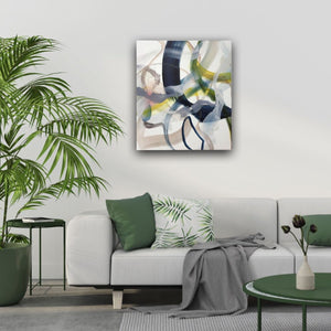 Abstract expressionist art above a modern white couch  and green interior design accents- modern artwork. A modern acrylic painting by abstract artist Anja Stemmer. Visit my Picture Shop for affordable art online: Buy abstract paintings, modern acrylic paintings and works of abstract art on canvas or paper online. My high quality abstract art designs are hand painted.