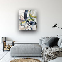 Load image into Gallery viewer, Abstract expressionist art in a modern home above lounge sofa- modern artwork. A modern acrylic painting by abstract artist Anja Stemmer. Visit my Picture Shop for affordable art online: Buy abstract paintings, modern acrylic paintings and works of abstract art on canvas or paper online. My high quality abstract art designs are hand painted.