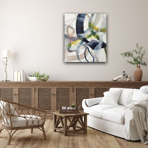 Abstract expressionist art in a cozy land house style living room - modern artwork. A modern acrylic painting by abstract artist Anja Stemmer. Visit my Picture Shop for affordable art online: Buy abstract paintings, modern acrylic paintings and works of abstract art on canvas or paper online. My high quality abstract art designs are hand painted.