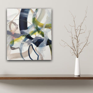 Abstract expressionist art in a modern interior with a vase and a twig  - modern artwork. A modern acrylic painting by abstract artist Anja Stemmer. Visit my Picture Shop for affordable art online: Buy abstract paintings, modern acrylic paintings and works of abstract art on canvas or paper online. My high quality abstract art designs are hand painted.