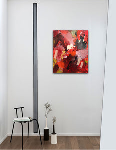 "Abstract expressionist art in a small appartment in the entrance area- modern artwork  ""Red symphony"". A modern acrylic painting by abstract artist Anja Stemmer. Visit my Picture Shop for affordable art online: Buy abstract paintings, modern acrylic paintings and works of abstract art on canvas or paper online. My high quality abstract art designs are hand painted."