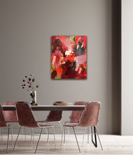 "Load image into Gallery viewer, Abstract expressionist art in a dining room with four mauve chairs and a colored wall- modern artwork  ""Red symphony"". A modern acrylic painting by abstract artist Anja Stemmer. Visit my Picture Shop for affordable art online: Buy abstract paintings, modern acrylic paintings and works of abstract art on canvas or paper online. My high quality abstract art designs are hand painted."