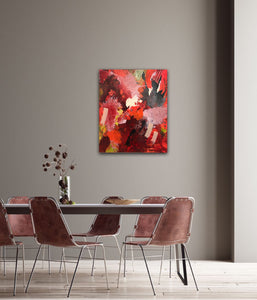 "Abstract expressionist art in a dining room with four mauve chairs and a colored wall- modern artwork  ""Red symphony"". A modern acrylic painting by abstract artist Anja Stemmer. Visit my Picture Shop for affordable art online: Buy abstract paintings, modern acrylic paintings and works of abstract art on canvas or paper online. My high quality abstract art designs are hand painted."
