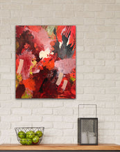 "Load image into Gallery viewer, Abstract expressionist art in the kitchen with a basket of lemons and a lantern - modern artwork  ""Red symphony"". A modern acrylic painting by abstract artist Anja Stemmer. Visit my Picture Shop for affordable art online: Buy abstract paintings, modern acrylic paintings and works of abstract art on canvas or paper online. My high quality abstract art designs are hand painted."