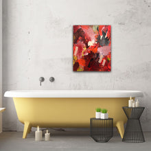 "Load image into Gallery viewer, Abstract expressionist art in a bathroom with a yellow bathtub - modern artwork  ""Red symphony"". A modern acrylic painting by abstract artist Anja Stemmer. Visit my Picture Shop for affordable art online: Buy abstract paintings, modern acrylic paintings and works of abstract art on canvas or paper online. My high quality abstract art designs are hand painted."