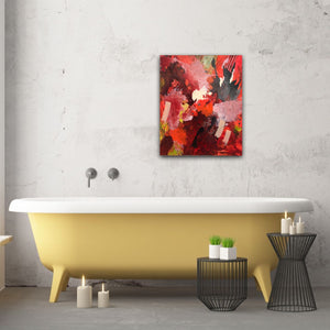 "Abstract expressionist art in a bathroom with a yellow bathtub - modern artwork  ""Red symphony"". A modern acrylic painting by abstract artist Anja Stemmer. Visit my Picture Shop for affordable art online: Buy abstract paintings, modern acrylic paintings and works of abstract art on canvas or paper online. My high quality abstract art designs are hand painted."