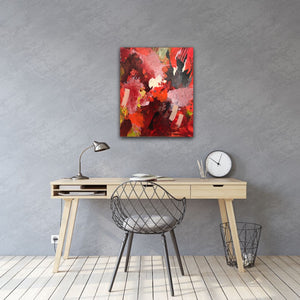 "Abstract expressionist art in the home office or corner office with a grey colored wall - modern artwork  ""Red symphony"". A modern acrylic painting by abstract artist Anja Stemmer. Visit my Picture Shop for affordable art online: Buy abstract paintings, modern acrylic paintings and works of abstract art on canvas or paper online. My high quality abstract art designs are hand painted."