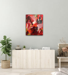 "Abstract expressionist art over a light contemporary sideboard - modern artwork  ""Red symphony"". A modern acrylic painting by abstract artist Anja Stemmer. Visit my Picture Shop for affordable art online: Buy abstract paintings, modern acrylic paintings and works of abstract art on canvas or paper online. My high quality abstract art designs are hand painted."