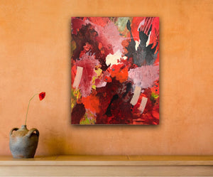 "Abstract expressionist art on an orange colored wall with a vase and a single flower- modern artwork  ""Red symphony"". A modern acrylic painting by abstract artist Anja Stemmer. Visit my Picture Shop for affordable art online: Buy abstract paintings, modern acrylic paintings and works of abstract art on canvas or paper online. My high quality abstract art designs are hand painted."