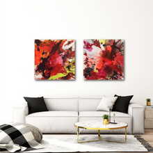 "Lade das Bild in den Galerie-Viewer, Abstract expressionist art over a modern white sofa - modern artworks ""The heat is on I & II"". A modern acrylic painting by abstract artist Anja Stemmer. Visit my Picture Shop for affordable art online: Buy abstract paintings, modern acrylic paintings and works of abstract art on canvas or paper online. My high quality abstract art designs are hand painted."