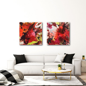"Abstract expressionist art over a modern white sofa - modern artworks ""The heat is on I & II"". A modern acrylic painting by abstract artist Anja Stemmer. Visit my Picture Shop for affordable art online: Buy abstract paintings, modern acrylic paintings and works of abstract art on canvas or paper online. My high quality abstract art designs are hand painted."
