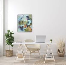 "Load image into Gallery viewer, Abstract expressionist art in a female home office space with light colors of interior design- modern artwork and abstract portrait ""Mystery"". A modern acrylic painting by abstract artist Anja Stemmer. Visit my Picture Shop for affordable art online: Buy abstract paintings, modern acrylic paintings and works of abstract art on canvas or paper online. My high quality abstract art designs are hand painted."