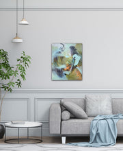 "Load image into Gallery viewer, Abstract expressionist art over a modern grey sofa in a contemporary living room - modern artwork and abstract portrait ""Mystery"". A modern acrylic painting by abstract artist Anja Stemmer. Visit my Picture Shop for affordable art online: Buy abstract paintings, modern acrylic paintings and works of abstract art on canvas or paper online. My high quality abstract art designs are hand painted."