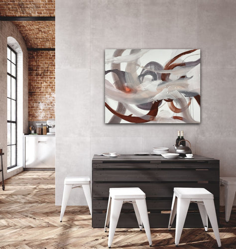 Abstract expressionist art in a loft living dining room- modern artwork.
