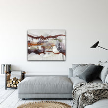 "Load image into Gallery viewer, Abstract expressionist art in contemporary living room over grey lounge sofa- modern artwork ""Loft IV"". A modern acrylic painting by abstract artist Anja Stemmer. Visit my Picture Shop for affordable art online: Buy abstract paintings, modern acrylic paintings and works of abstract art on canvas or paper online. My high quality abstract art designs are hand painted."