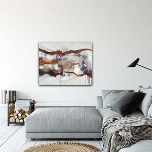 "Abstract expressionist art in contemporary living room over grey lounge sofa- modern artwork ""Loft IV"". A modern acrylic painting by abstract artist Anja Stemmer. Visit my Picture Shop for affordable art online: Buy abstract paintings, modern acrylic paintings and works of abstract art on canvas or paper online. My high quality abstract art designs are hand painted."
