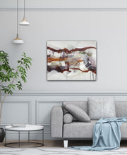 "Load image into Gallery viewer, Abstract expressionist art in modern living room over grey sofa - modern artwork ""Loft IV"". A modern acrylic painting by abstract artist Anja Stemmer. Visit my Picture Shop for affordable art online: Buy abstract paintings, modern acrylic paintings and works of abstract art on canvas or paper online. My high quality abstract art designs are hand painted."