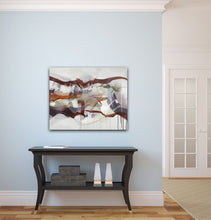"Load image into Gallery viewer, Abstract expressionist art on light blue colored wall over black open sideboard in traditional home- modern artwork ""Loft IV"". A modern acrylic painting by abstract artist Anja Stemmer. Visit my Picture Shop for affordable art online: Buy abstract paintings, modern acrylic paintings and works of abstract art on canvas or paper online. My high quality abstract art designs are hand painted."
