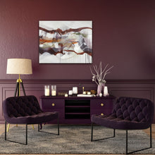 "Load image into Gallery viewer, Abstract expressionist art on a plum colored wall in modern design living room - modern artwork ""Loft IV"". A modern acrylic painting by abstract artist Anja Stemmer. Visit my Picture Shop for affordable art online: Buy abstract paintings, modern acrylic paintings and works of abstract art on canvas or paper online. My high quality abstract art designs are hand painted."